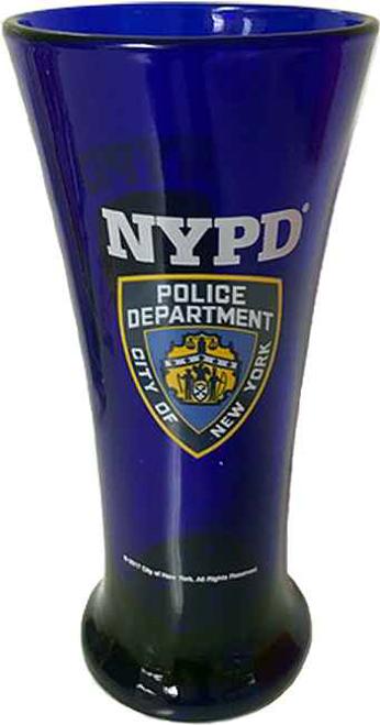 NYPD Cobalt Blue/ Shield Flute Glass
