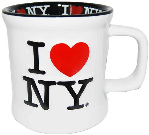 I Love NY White Embossed Mug with Black Inside