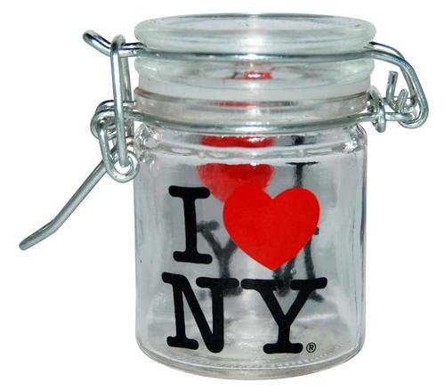 I Love NY 2 Side Decal Mini Glass Storage Jar