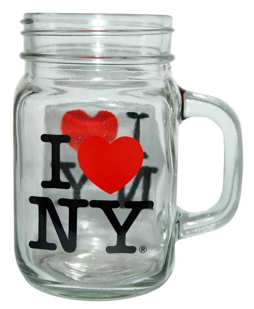 I Love NY Clear 2 Side Decal Glass Mason Mug