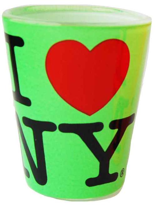 I Love NY Neon Green Shot Glass