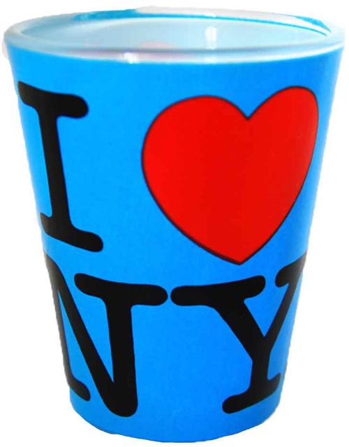 I Love NY Neon Blue Shot Glass