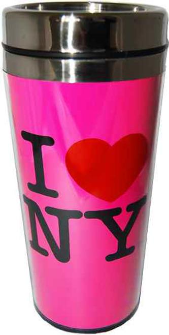 I Love NY Neon Pink All White Logo Travel Mug