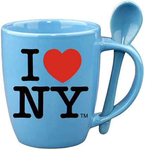I Love NY Blue Mug with Blue Inside & Spoon
