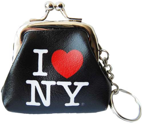 I Love NY Black Coin Purse with Key Chain