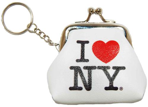 I Love NY White Coin Purse with Key Chain