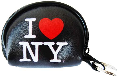 I Love NY Black Dome Coin Purse with Key Chain