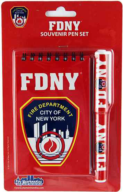 FDNY Red Notepad and Pen Set