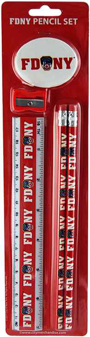 FDNY Red Pencil and Ruler Set