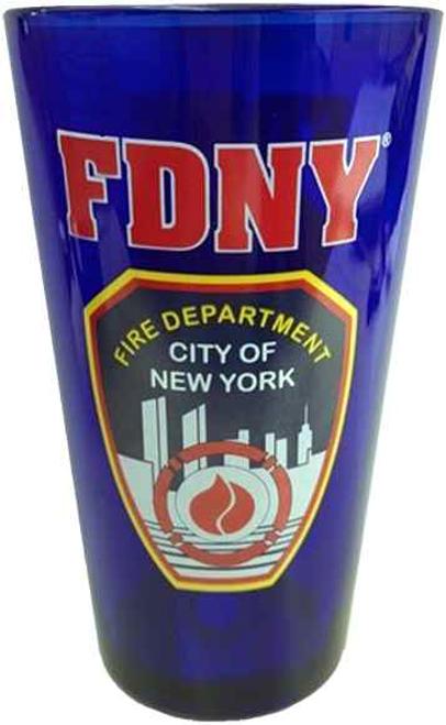FDNY Cobalt Blue Shield/Logo Beer Glass