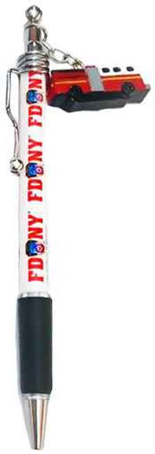 FDNY White Fire Engine Double Sided Dangle Pen