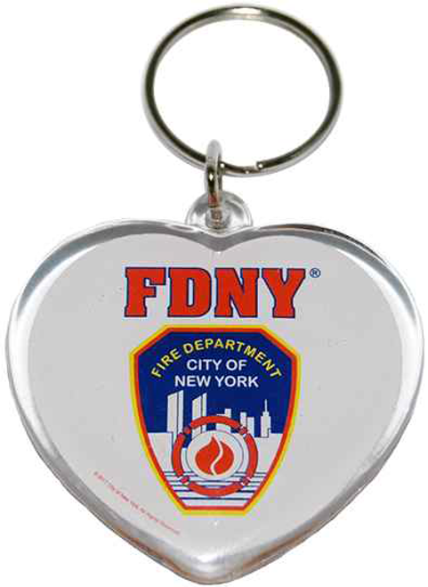 FDNY White Lucite Heart Shape Logo/ Shield Key Ring