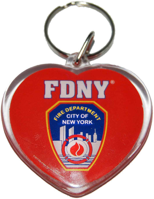 FDNY Red Lucite Heart Shape Logo/ Shield Key Ring