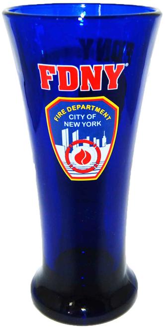 FDNY Cobalt Blue Logo/ Shield Flute Glass
