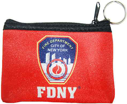FDNY Red Neoprene Coin Purse with Logo and Zipper