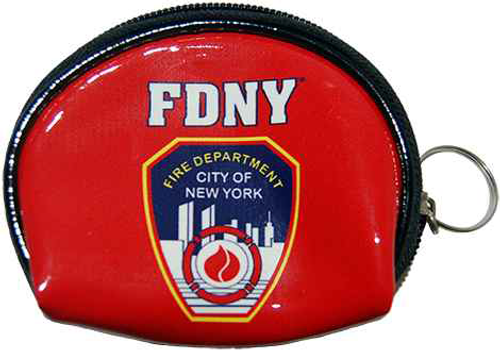FDNY Red Vinyl Coin Purse with Zipper