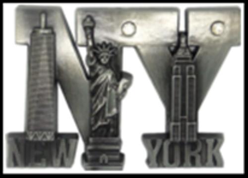 NY Landmarks In Letters Metal Magnet Image
