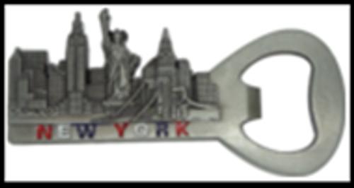 NY Skyline Bottle Opener Metal Magnet Image