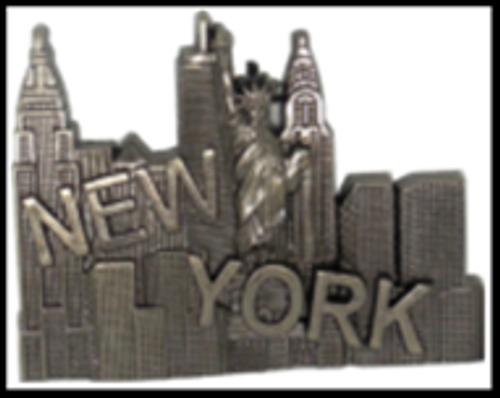 NY Skyline with Slanted New York Metal Magnet Image