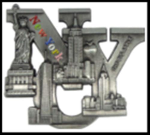 NYC Color Flag Skyline Bottle Opener Metal Magnet Image