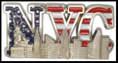 NYC Color Flag Landmarks In Letters Metal Magnet Image