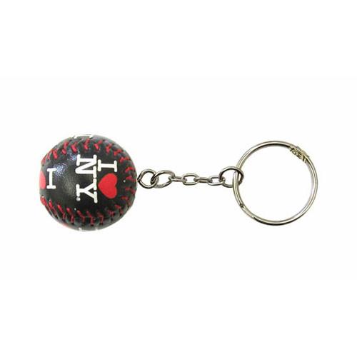 I Love NY Black Baseball Keychain
