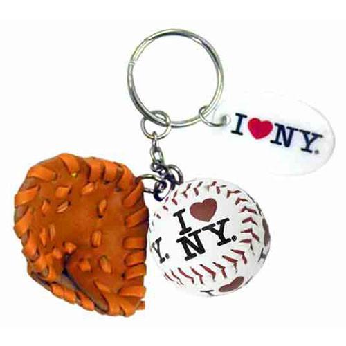 I Love NY White Baseball Glove & Ball Keychain
