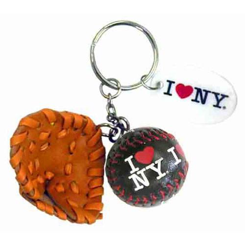 I Love NY Black Baseball Glove & Ball Keychain