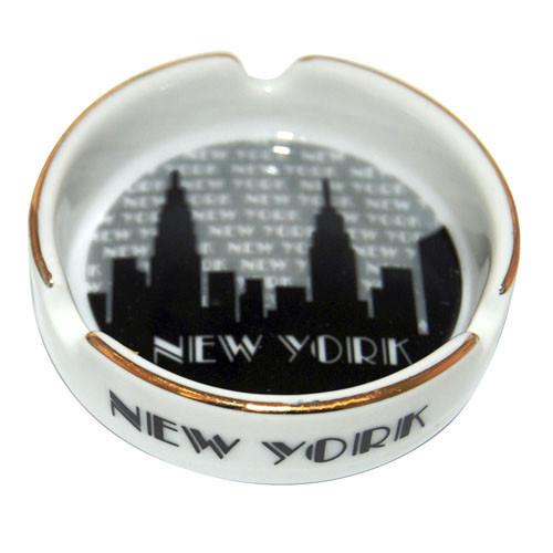 "NYC ""Grey Skyline"" Small Ashtray w/Gold Edge"