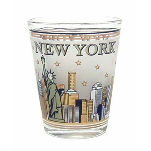 NYC Skyline Gold & Black Frosted Shot Glass