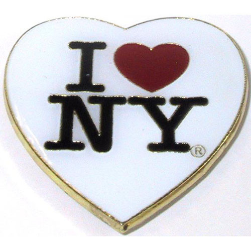 I Love NY White Heart Metal Magnet
