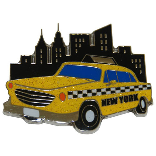 NYC Taxi Glitter Metal Magnet
