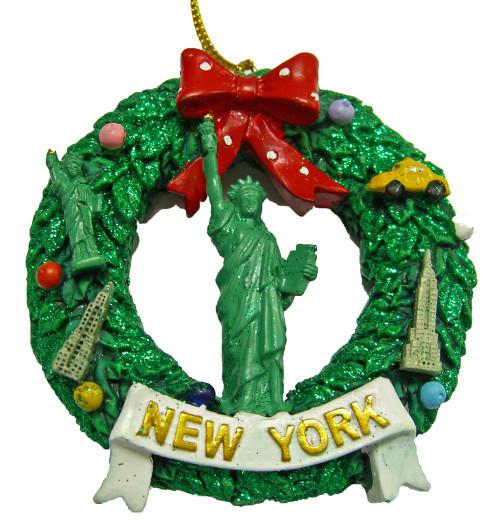 NY Statue of Liberty Wreath Ornament