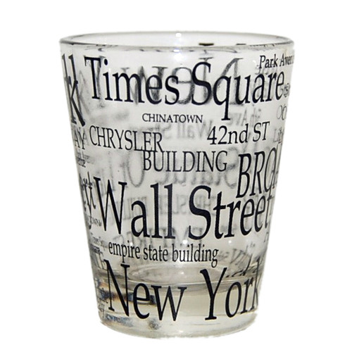 """NYC """"Black Letters"""" Clear Shot Glass"""
