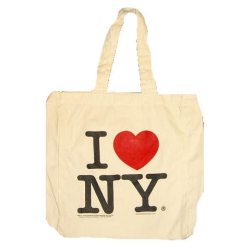I Love NY White Canvas Tote Bag