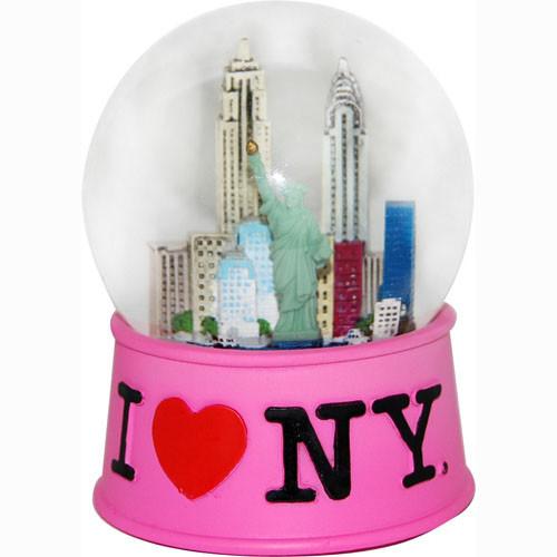 I Love NY Pink 65mm Snowglobe