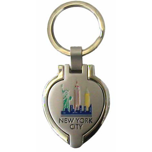 NYC Colorful Skyline Heart Shaped Keychain