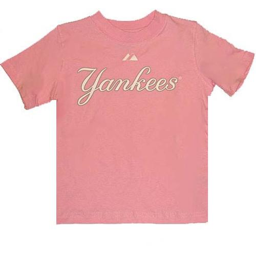 Yankees Pink Wordmark Toddler Tee
