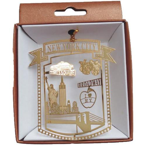 NYC Skyline Framed Gold Foil Ornament