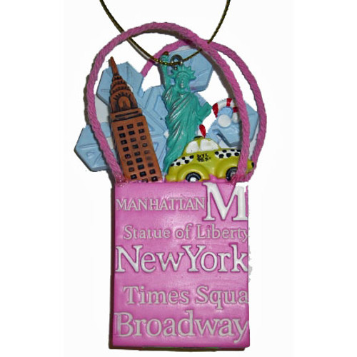 NYC Icons Shopping Bag Ornament - Pink