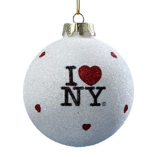 I Love NY Glitter Blown Glass Ornament
