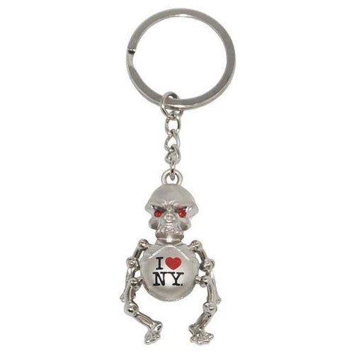 I Love NY Metal Skeleton Keyring