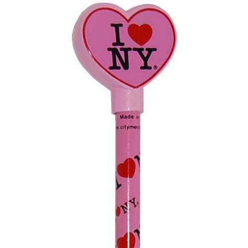 I Love NY Pink Heart Pencil Topper
