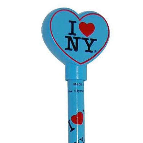I Love NY Blue Heart Pencil Topper