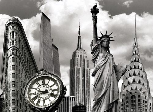 New York Landmarks Collage Photo Magnet