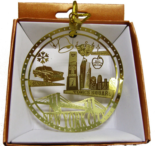 Times Square in Circle Gold Foil Ornament