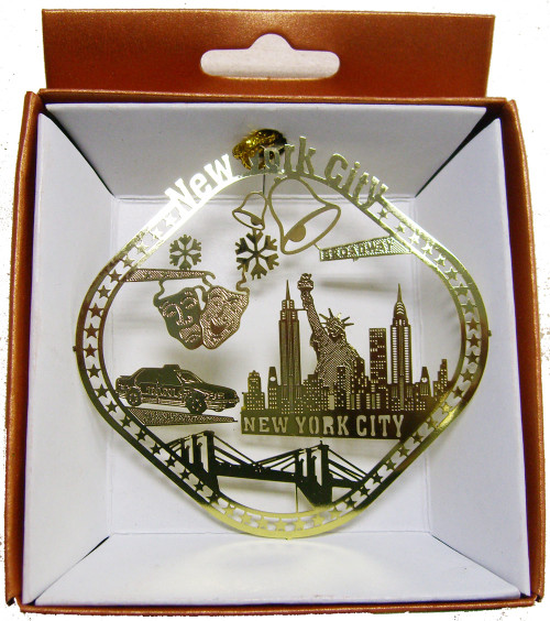 NYC Icons Diamond Shaped Gold Foil Ornament