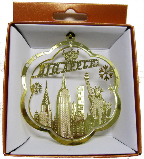 NYC Icons Flower Shaped Gold Foil Ornament