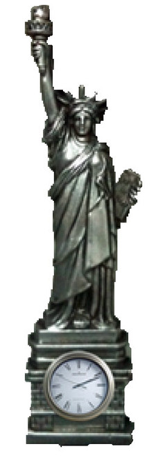 10 Inch Pewter Statue of Liberty with Clock Base