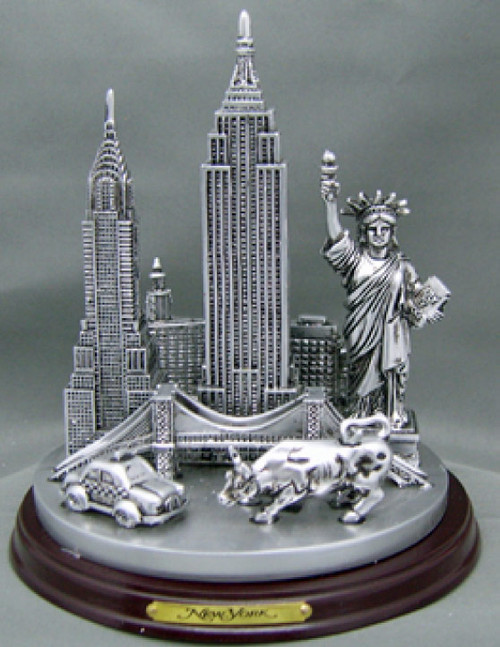 NYC Icons 6 Inch Pewter Skyline Model